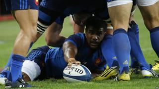 France's centre Wesley Fofana clears the ball out of a ruck during the Rugby Union test match between France and England