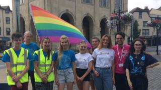 The 15 to 17-year olds were raising support and money for the annual Oxford Pride festival outside Abingdon town hall