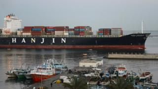 A Hanjin container ship