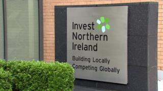 An Invest Northern Ireland sign at its Belfast headquarters