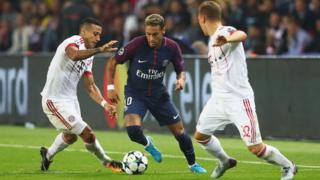 Neymar in Champions League action against Bayern Munich