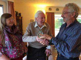 Philip Rankin, middle, receiving Snowsport Scotland Lifetime Award