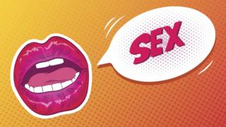 Pop Art illustration - Female lips and a speech bubble saying 'sex', comic book style