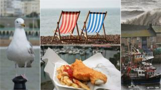 A composite picture: a seagull, deck chairs, fish and chips, boats in a harbour in stormy weather