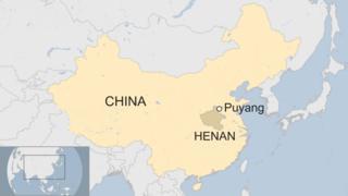 A map showing Puyang, Henan province, China