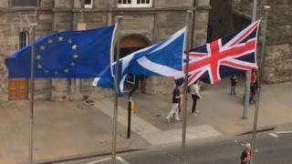 Saltire, Union Jack and EU flag
