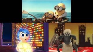 Pictures from BAFTA's animated movies, The Minions, Inside Out and Shaun the Sheep.