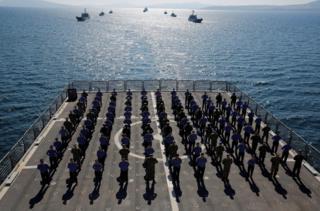 Crew members on board TCG Bayraktar (L-402)
