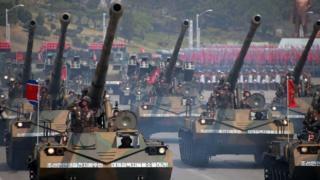 This April 15, 2017 picture released from North Korea's official Korean Central News Agency (KCNA) on April 16, 2017 shows Korean People's howitzers being displayed through Kim Il-Sung square during a military parade in Pyongyang marking the 105th anniversary of the birth of late North Korean leader Kim Il-Sung.