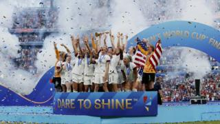 USA Women celebrates the championship with the trophy during the World Cup Women match between USA v Holland at the Stade de Lyon on July 7, 2019 in Lyon France