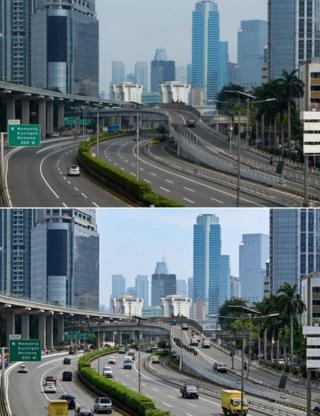 Vehicles commuting in a loose traffic in Indonesia's capital Jakarta on 10 April, 2020 (top) and traffic on the same road on 14 May