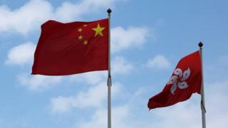中国国旗と香港の旗