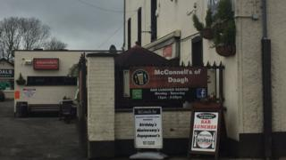 The attack happened in McConnell's bar in Doagh on Wednesday evening