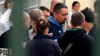 Russian soccer fan leader Alexander Shprygin, is seen during his first expulsion in Marseille, France, 18 June 2016.