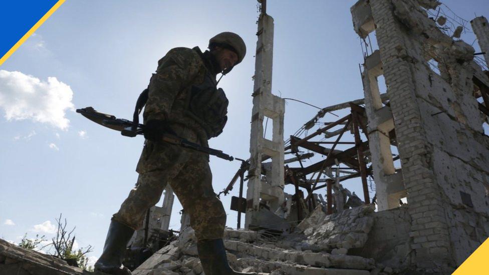 Військовий на руїхах будинку в Донецькій області