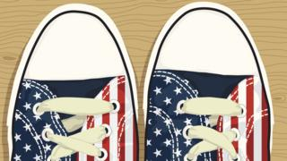 Tênis com a bandeira dos EUA