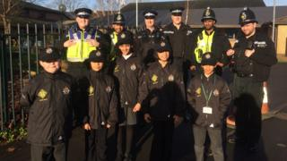 Pill Mini Police with Gwent Police officers