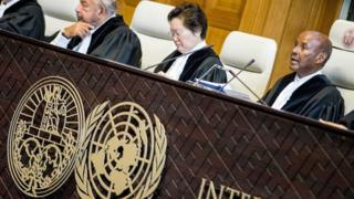Judges listen to lawyers for Iran at the International Court of Justice (27 August 2018)