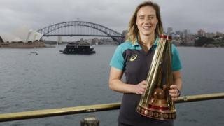 Australian Ellyse Perry with the new women's Ashes trophy