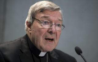 Australian Cardinal George Pell speaks to members of the media at the Vatican on 29 June 2017.