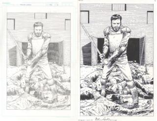 Original drawings by Charlie Adlard for Walking Dead comic