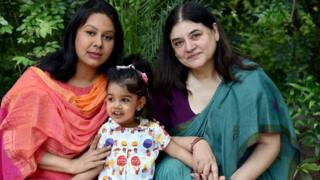 Indian Minister for Women and Child Development Maneka Gandhi (right) with her daughter-in-law and granddaughter