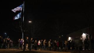 People queuing to caucus in Iowa