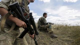 Ukrainian servicemen patrol area in Zaytseve village, near Gorlovka of Donetsk area. File photo