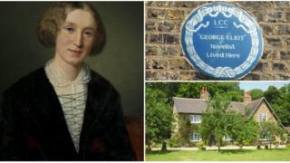 George Eliot with a blue plaque and her birthplace