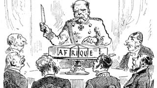 "French commentary on the Berlin Conference of 1884-1885: Otto von Bismarck, then Chancellor or Germany, is portrayed here wielding a knife over a sliced-up cake, labelled ""Africa"". His fellow delegates around the table look on in awe."