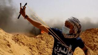 Палестинец в рогаткой