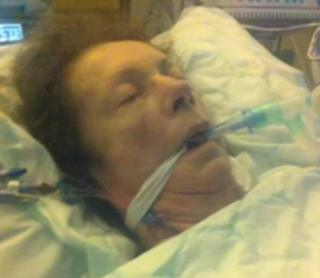 Vivien Neale in hospital shortly before she died