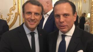 Presidente da França, Emanuel Macron (à esq.) e João Doria no Palácio do Eliseu