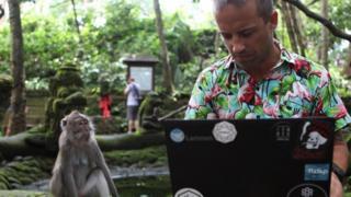 شاب يعمل على جهاز الكمبيوتر المحمول الخاص به وسط متنزه مفتوح