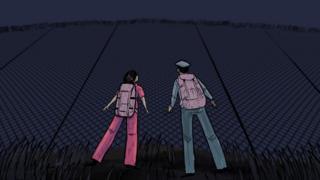 Ilustração: Jeon e Kim diante da cerca do centro de detenção
