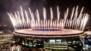 Fireworks explode above the Maracana stadium during the rehearsal of the opening ceremony of the Olympic Games. Photo: 3 August 2016