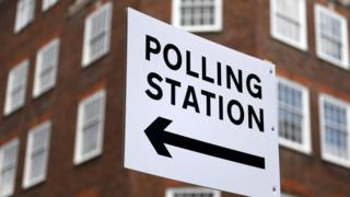 Sign directing people to a polling station