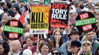 Anti-austerity protestors march in London on 20 June 2015