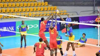 Umugwi w'u Rwanda (ubururu n'umuhondo) watsinze Botswana 3-0