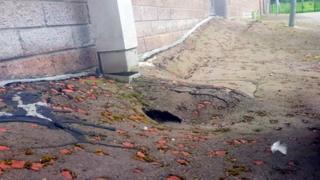 Broken ground around school