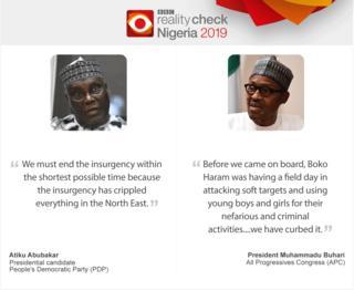 A quote picture of President Buhari and presidential hopeful Atiku Abubakar making claims on Boko Haram