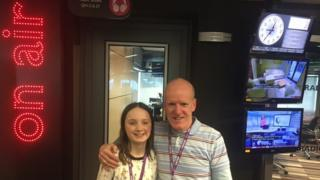 Dave Kilroy and his granddaughter Eve visit BBC Radio Manchester's studios