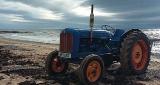 Fisherman's tractor on the beach between East Haven to Arbroath. Mhairi Irving, Laurencekirk