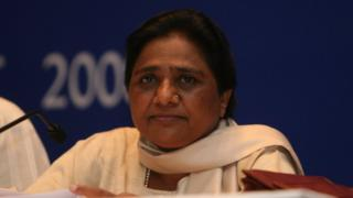 Mayawati at a press conference