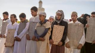 Moroccan youths gather to pray for rain near capital of Rabat