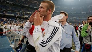 David Beckham in his final match for Real Madrid in 2007