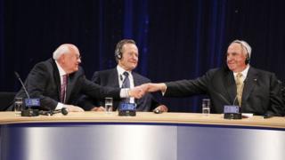 Горбачев, Буш и Коль на 20-м юбилее объединения Германии