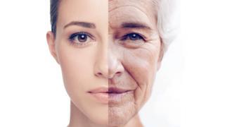 Rostro mitad mujer joven mitad vieja