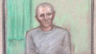 Court sketch of Barry Bennell appearing via videolink