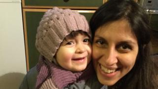 Nazanin Zaghari-Ratcliffe with her daughter